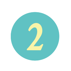 The number 2 in a teal circle