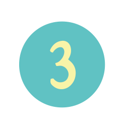 The number 3 in a teal circle